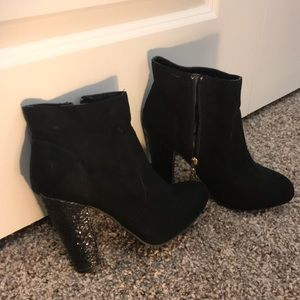 Guess Sequined Black Ankle Heel Boots